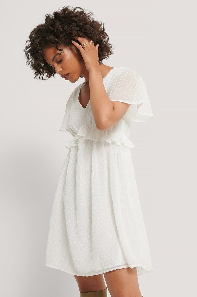 Dobby Short Sleeve Flounce Dress White