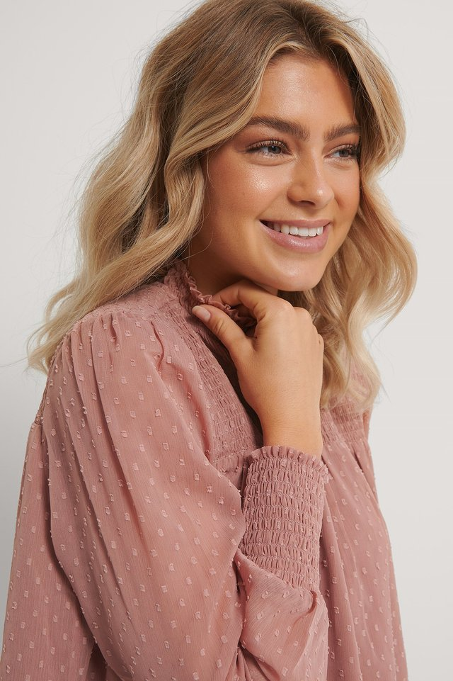 Dusty Pink Dobby Smocked Frill Neck Blouse