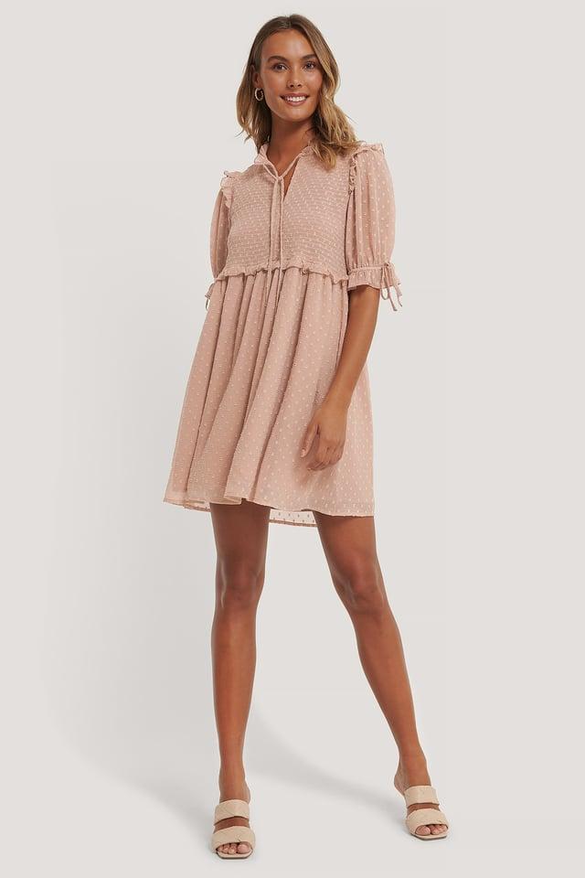 Dobby Smocked Mini Dress Dusty Pink