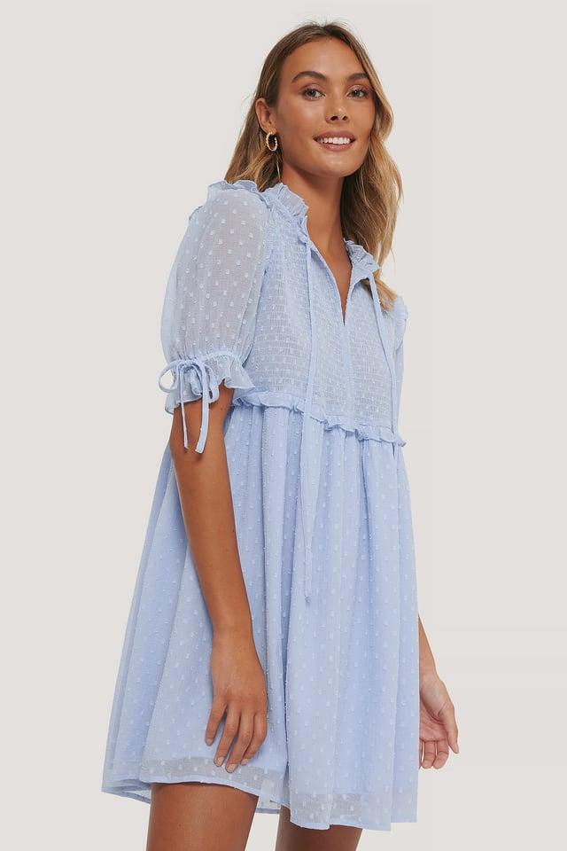 Dobby Smocked Mini Dress Lavender