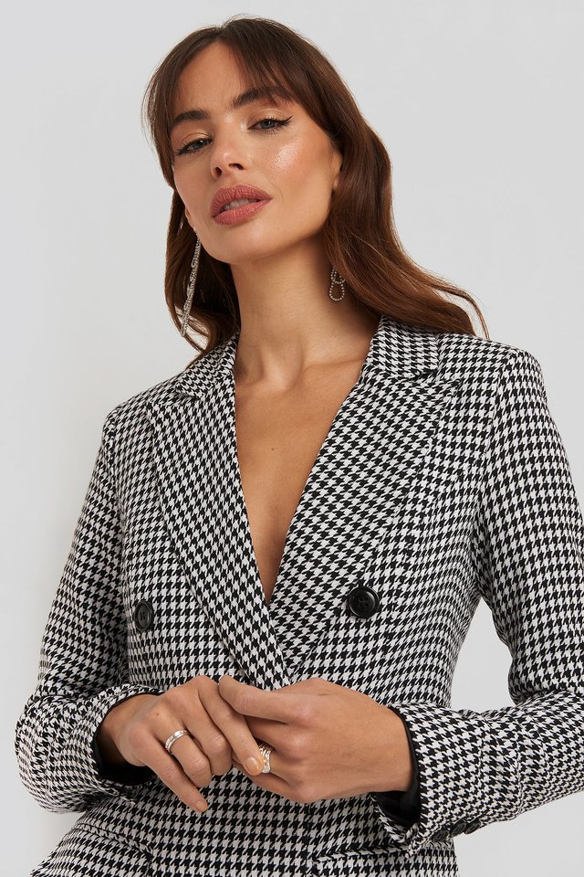Dogtooth Blazer Dress Black/White