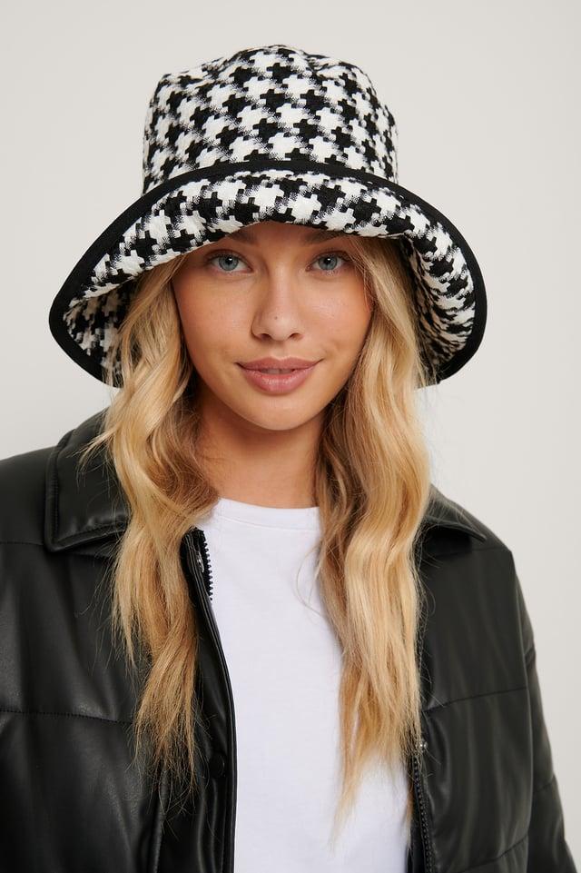 Black Dogtooth Bucket Hat