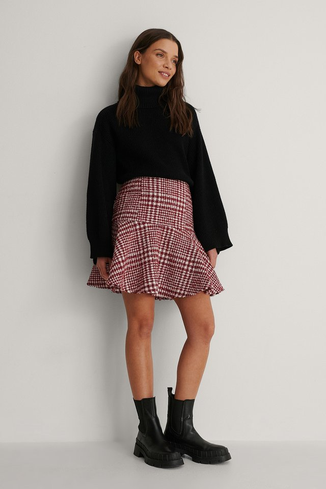 Red/White Dogtooth Tweed Skirt