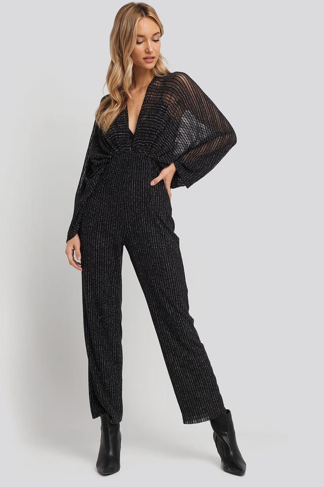 Dolman Glittery Jumpsuit Black