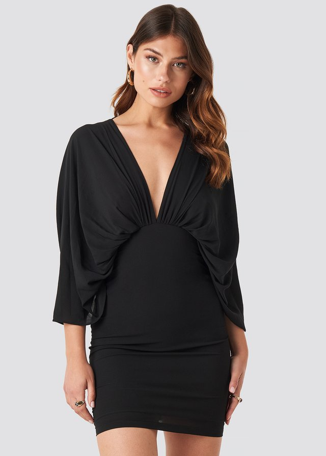 Dolman Sleeve Fitted Dress Black