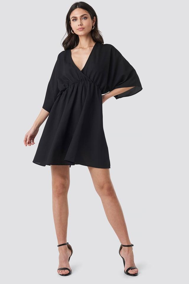 Dolman Sleeve Wrap Front Dress Black