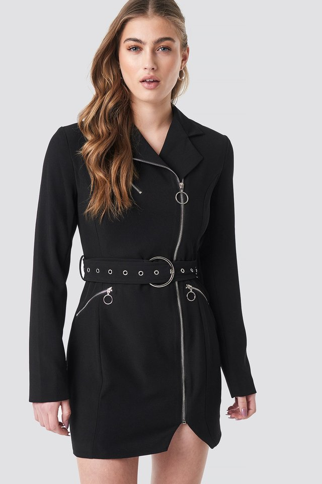Belted Zip Detail Blazer Dress Black