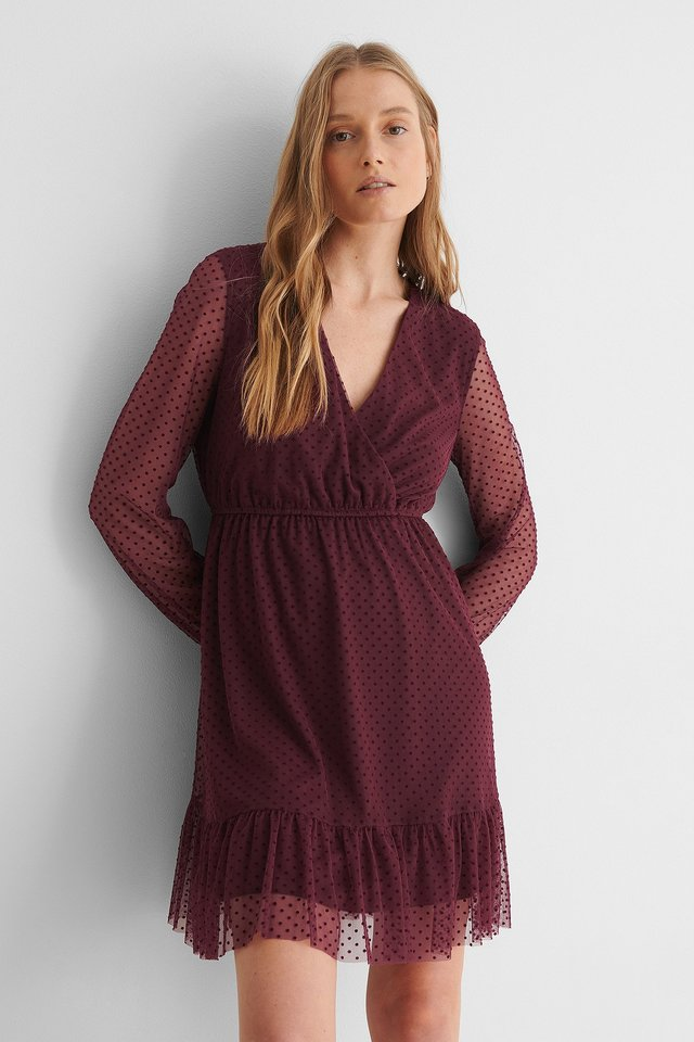 Burgundy Dot Detail Chiffon Dress