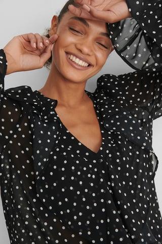 Black/White dots Bluse
