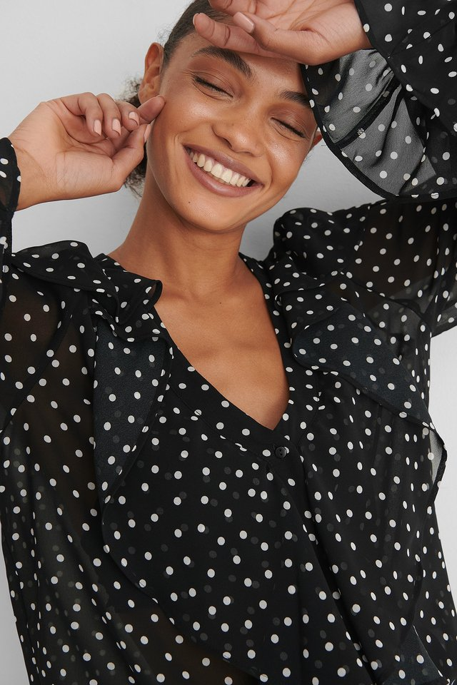 Black/White dots Dotted Blouse