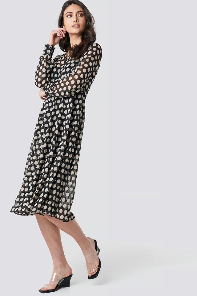 Dotted Chiffon Shirt Dress Dots