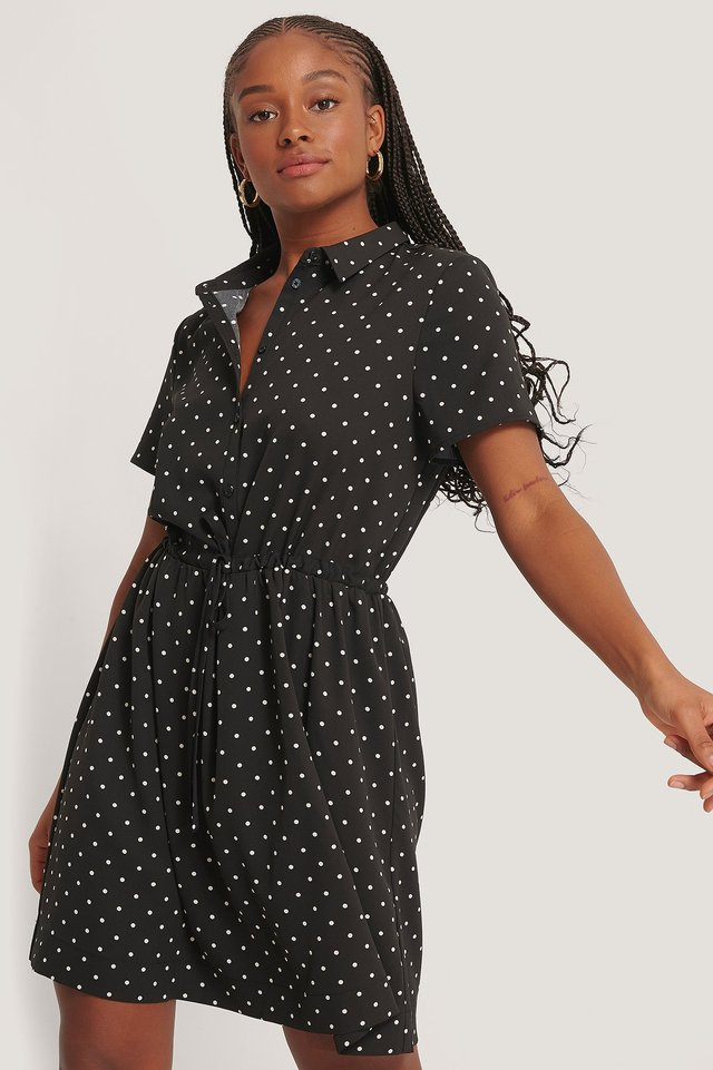 Dotted Collar Dress Black/White dots