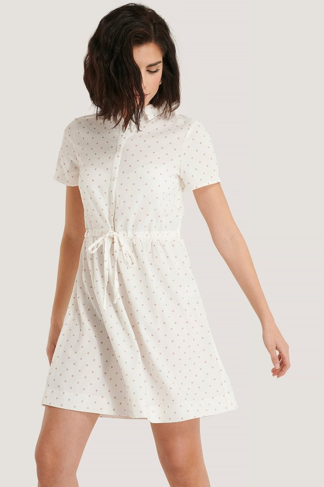Dotted Collar Dress White/Beige
