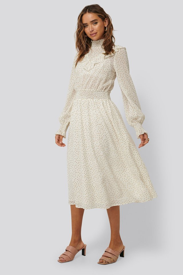 Dotted Frill Detail Dress White/Beige