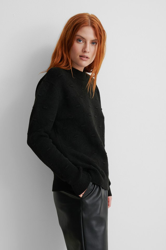 Black Dotted Knitted Sweater