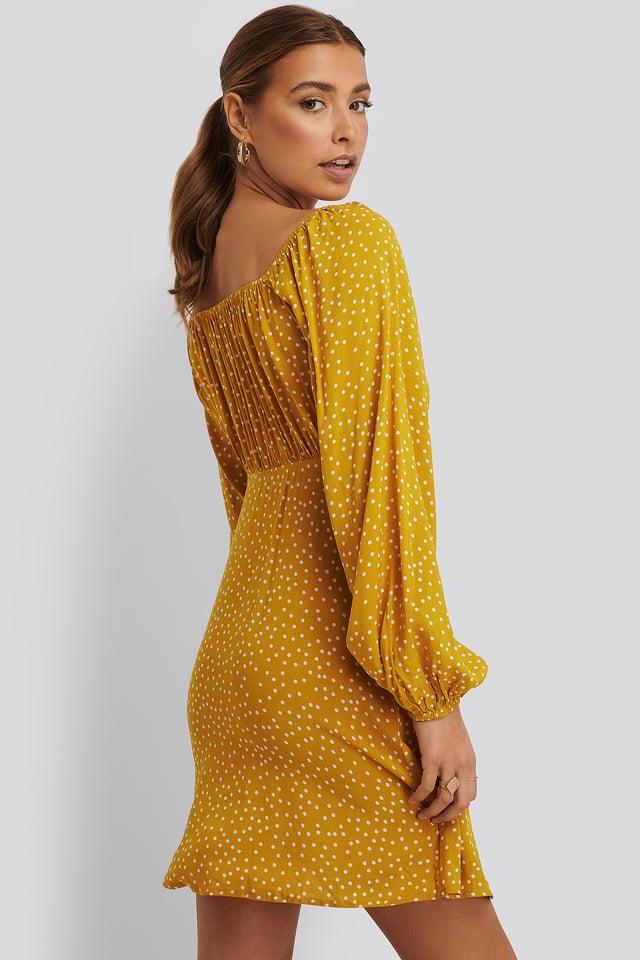 Dotted Mini Dress Mustard