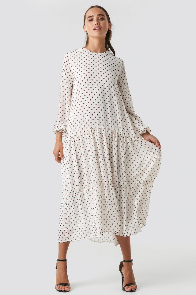Dotted Ruffle Chiffon Dress White/Burgundy Dots