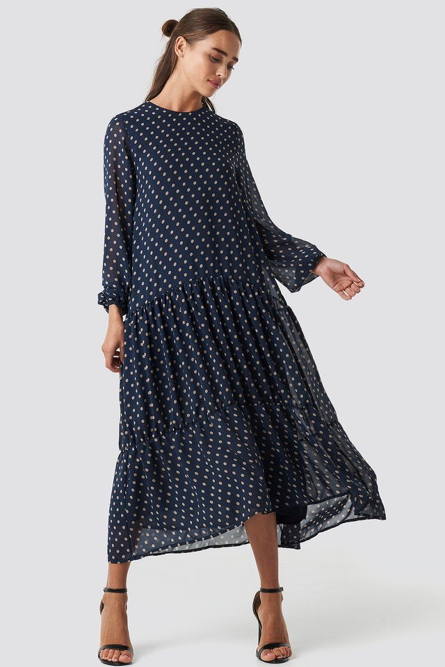 Dotted Ruffle Chiffon Dress Blue/Beige Dots