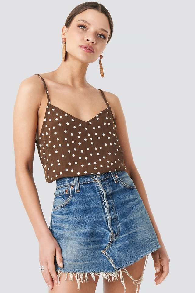 Dotted Strap Singlet Brown/White Dots