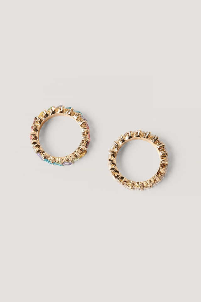 Double Pack Colorful Stone Rings Gold