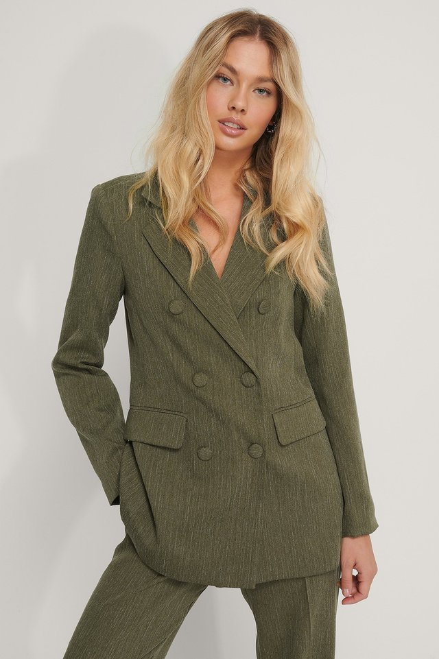 Double Breasted Blazer Dark Green