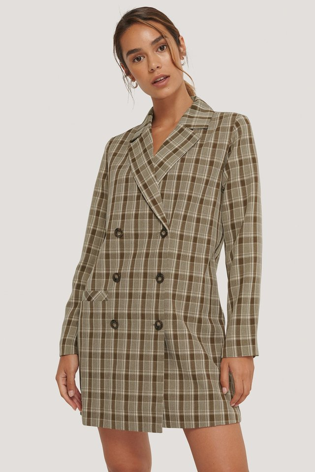 Checkered Double Breasted Blazer Dress