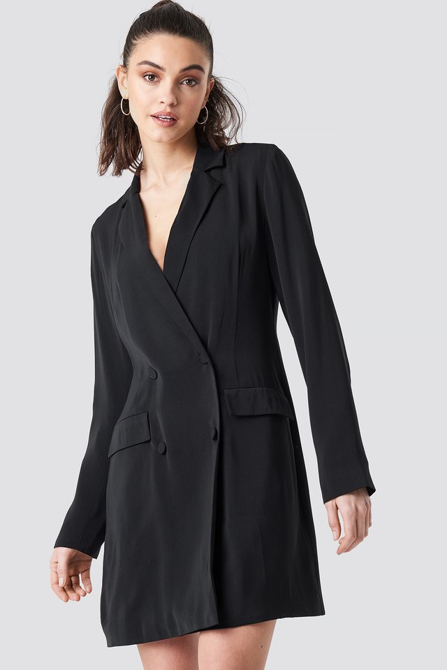 Double Breasted Blazer Dress Black