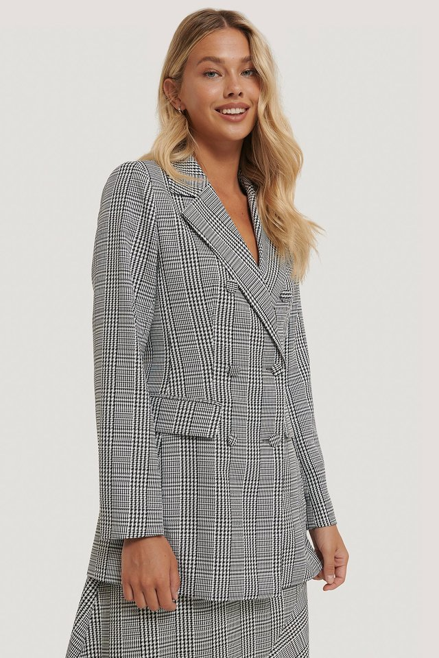 Black/White Double Breasted Houndtooth Blazer