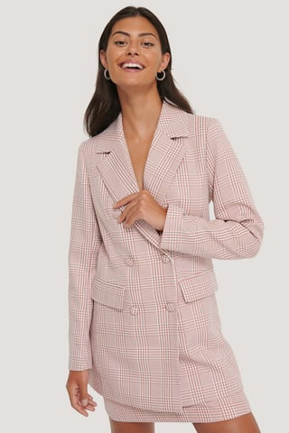 Pink/White Double Breasted Houndtooth Blazer