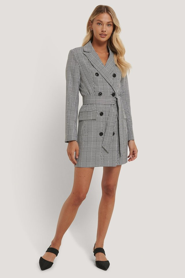 Double Breasted Houndtooth Blazer Dress Black/White