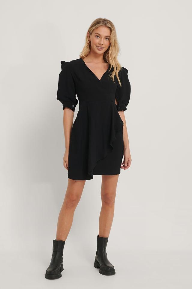 Double Breasted Mini Dress Black