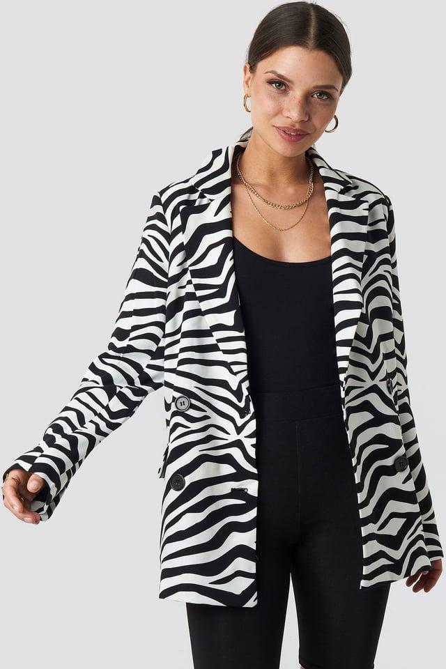 Double Breasted Oversized Blazer Zebra