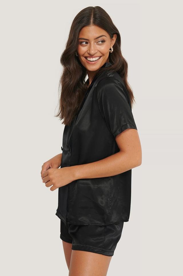 Double Breasted Satin Pyjamas Set Black