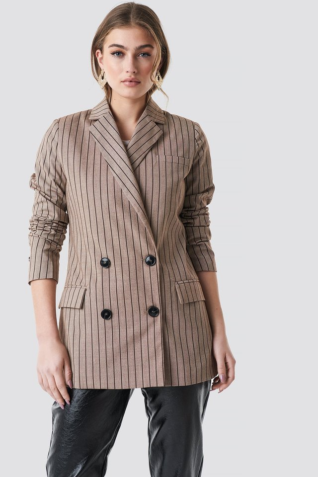Double Breasted Striped Blazer Beige