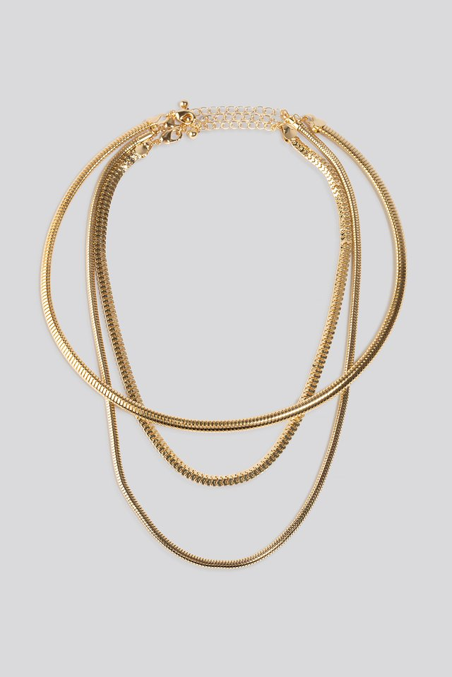 Double Chain Choker Necklace Gold