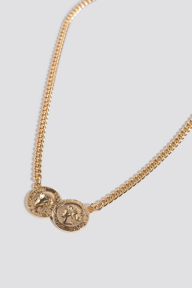 Double Connected Coin Necklace Gold