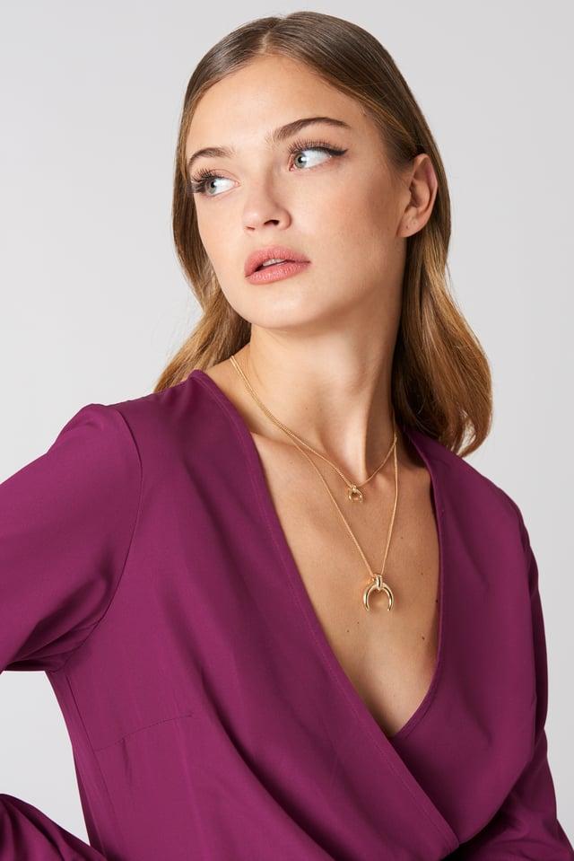 Double Crescent Pendant Necklace NA-KD Accessories