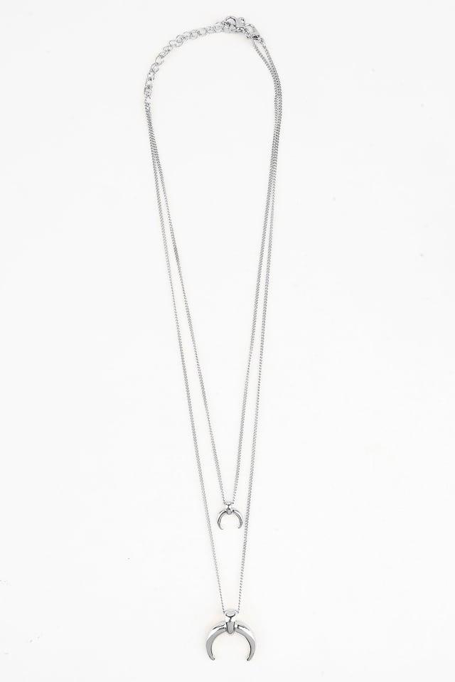Double Crescent Pendant Necklace Silver