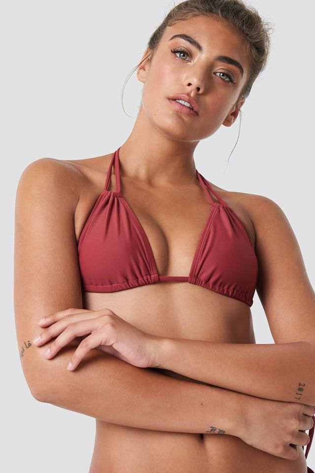 Double Neck Strap Triangle Bikini Dusty Red