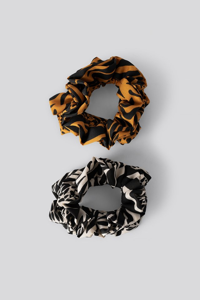 Double Pack Animal Printed Scrunchies Mixed