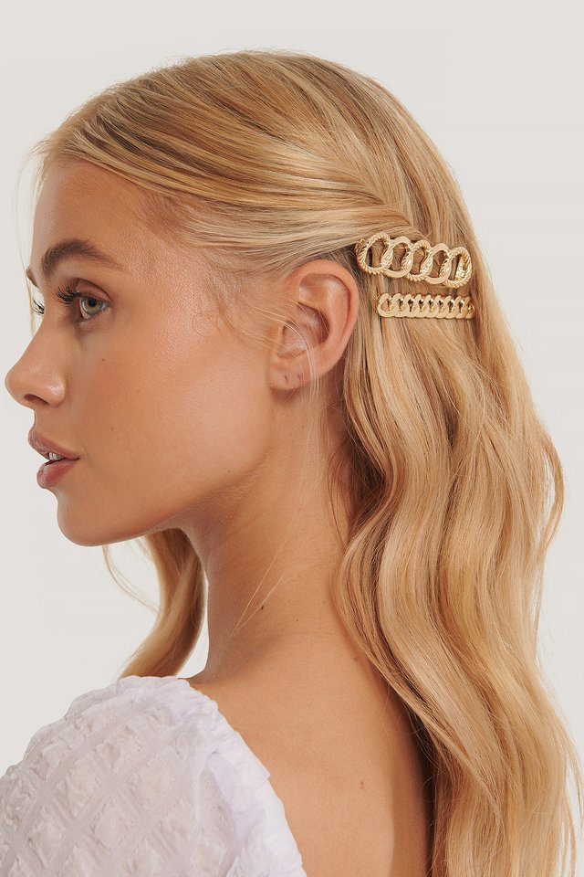Double Pack Chain Hairclips Gold