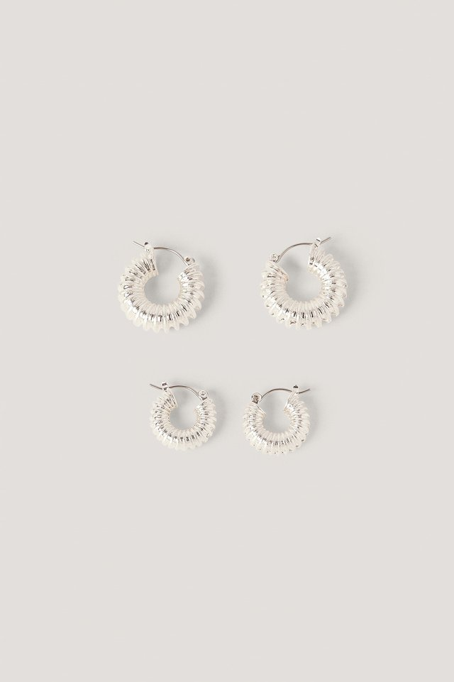 Double Pack Chubby Ruffled Hoops NA-KD Accessories
