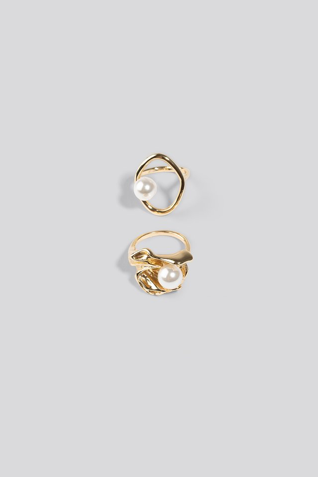 Double Pack Chunky Pearl Rings Gold