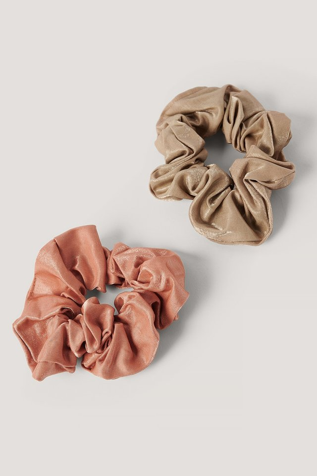 Double Pack Dull Satin Scrunchies Beige/Brown