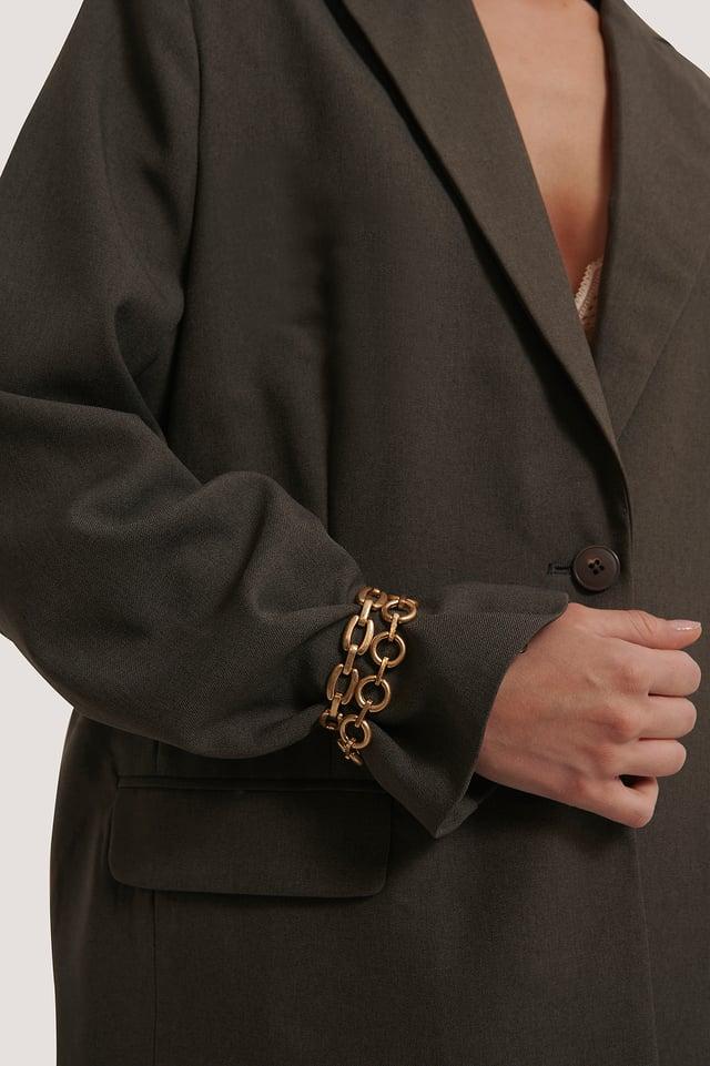 Double Pack Matte Chain Bracelets Gold