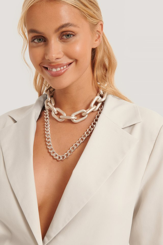 Double Pack Oversize Chain Necklaces Silver