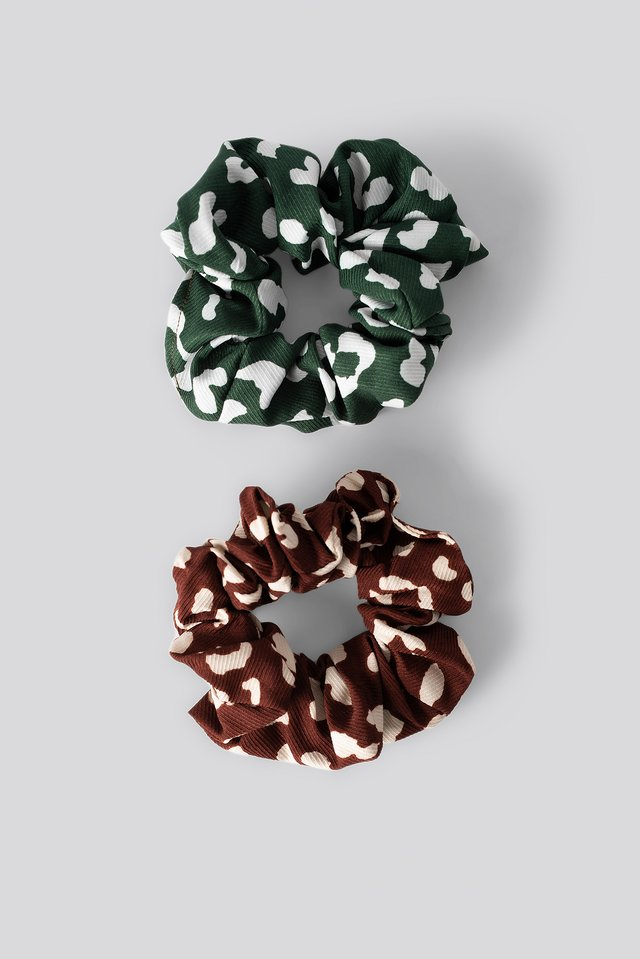 Burgundy/Petrol Double Pack Patterned Scrunchies