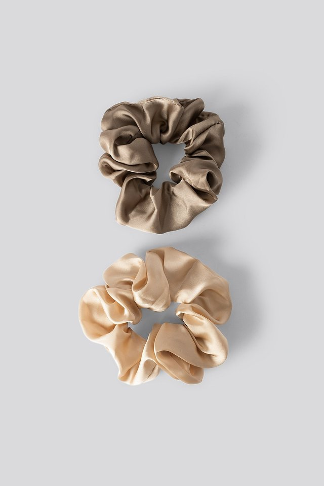 Taupe/Soft Gold Dubbelpack Blanka Satinscrunchies
