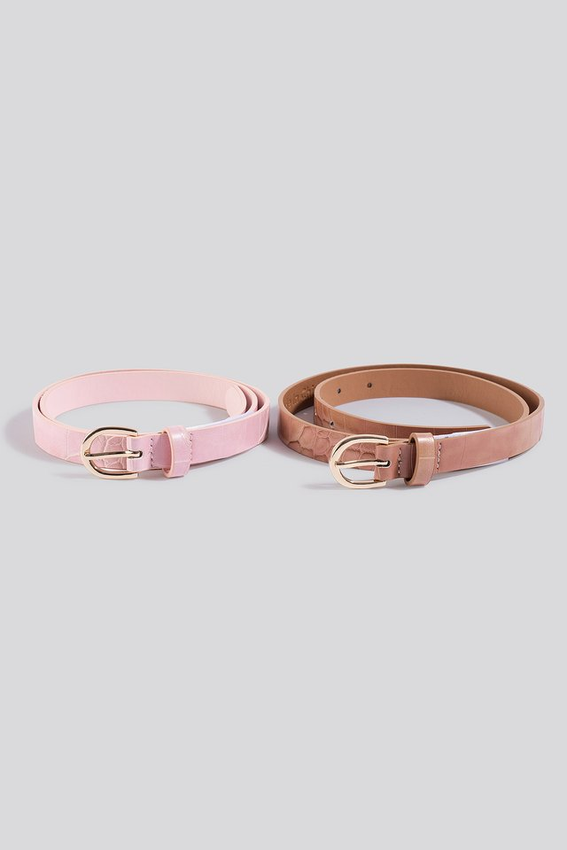 Pink/Beige Double Pack Slim Belts