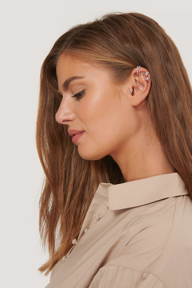 Double Pack Sparkling Ear Cuff Set Silver
